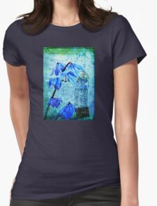 Bluebells on Vintage Postcard Womens Fitted T-Shirt