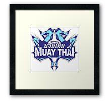 muay thai fighter blue thailand martial art badge logo Framed Print