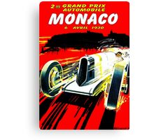 """MONACO GRAND PRIX"" Vintage Auto Racing Print Canvas Print"