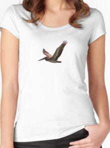 Brown pelican in flight Women's Fitted Scoop T-Shirt