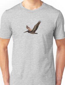 Brown pelican in flight Unisex T-Shirt