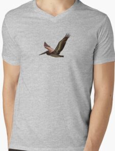 Brown pelican in flight Mens V-Neck T-Shirt