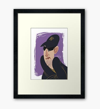 Phil Hellmuth Professional Poker Player Caricature Framed Print