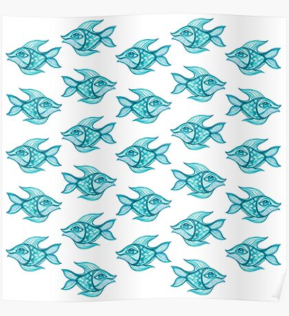 pattern fish blue  Poster