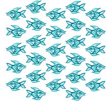 pattern fish blue  Photographic Print