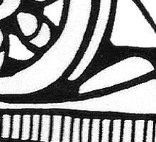 Old Woodcut Spinning Wheel Image Sticker