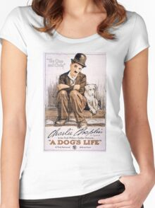 Charlie Chaplin A Dogs Life Women's Fitted Scoop T-Shirt