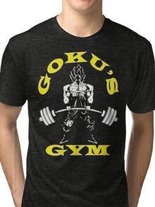 Goku's Gym (White and Yellow Logo) Tri-blend T-Shirt