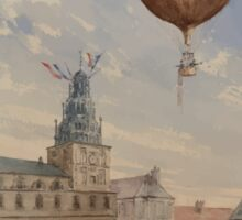0011 ballooning Balloon with two passengers ascending over a town square with French flags flying from tower and many spectators below Camille Gravis Sticker