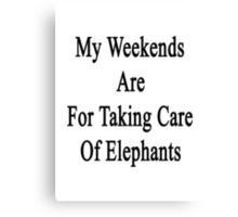 My Weekends Are For Taking Care Of Elephants  Canvas Print
