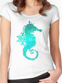 Turquoise Seahorse Women's Fitted Scoop T-Shirt