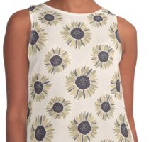 Cute,1970,flowers,floral,spoon flower,shades of tan,black,grey,hues,white,pale coral,peach,cream,vintage,retro, girly,modern,trendy,decorative,decor Contrast Tank