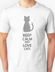 Cute Black Cat Cartoon Hearts Unisex T-Shirt