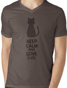 Cute Black Cat Cartoon Hearts Mens V-Neck T-Shirt