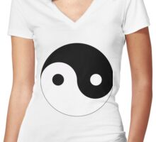 Ying and yang,feng shui,tao,energy,feminine,masculine,spiritual Women's Fitted V-Neck T-Shirt