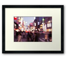 Abstract out-of-focus city scenery with colorful lights art photo print Framed Print