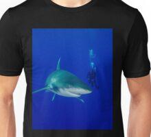 Scuba Diver and Oceanic White Tip Shark Unisex T-Shirt