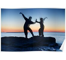 Blurred silhouettes of people practicing martial arts art photo print Poster