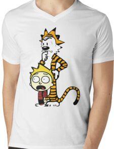 Rick and Morty, Calvin and Hobbes, Mashup Mens V-Neck T-Shirt