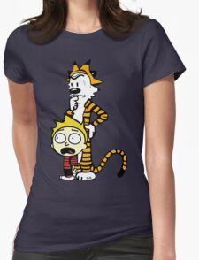 Rick and Morty, Calvin and Hobbes, Mashup Womens Fitted T-Shirt