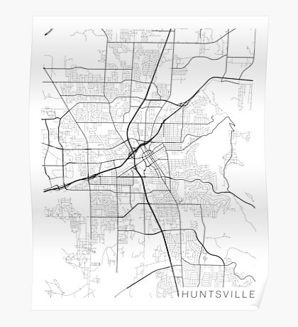 Huntsville Map, USA - Black and White Poster