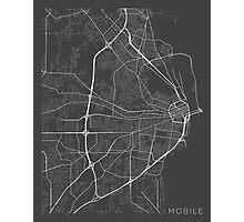 Mobile Map, USA - Gray Photographic Print