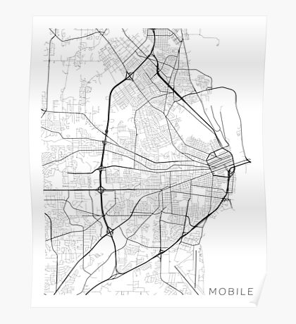 Mobile Map, USA - Black and White Poster