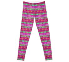Aztec Tribal Motif Pattern in Pink, Lime and Fuchsia Leggings