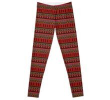 Aztec Tribal Motif Pattern in Red, Mustard, Salmon and Charcoal Leggings