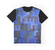 Abstraction #039 Blue Black Rectangles Graphic T-Shirt