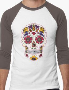 Day of the Dead Sugar Skull Dark Men's Baseball ¾ T-Shirt