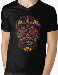 Day of the Dead Sugar Skull Dark Mens V-Neck T-Shirt