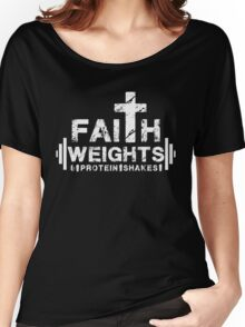 Faith Weights and Protein Shakes - Christian Fitness Gym T Shirt Women's Relaxed Fit T-Shirt
