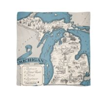Vintage 1926 Michigan state map - Christmas gift idea Scarf