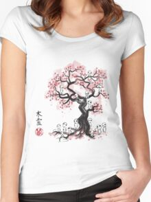 Forest Spirit Sumi-e Women's Fitted Scoop T-Shirt