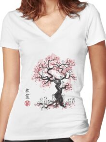Forest Spirit Sumi-e Women's Fitted V-Neck T-Shirt