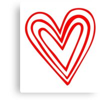 Red Layered Heart Doodle Canvas Print