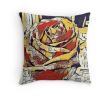Painted Rose in Line Art Throw Pillow