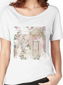 Vintage Paper With Pik Roses & Partial Maps Women's Relaxed Fit T-Shirt