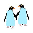 Blue Penguins Holding hands by piedaydesigns