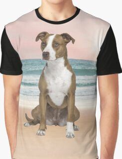Cute Pitbull Dog Sitting on Beach with sunset Graphic T-Shirt