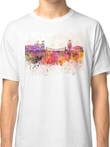 Bristol skyline in watercolor background Classic T-Shirt