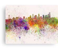 Seattle skyline in watercolor background Metal Print