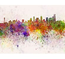 Seattle skyline in watercolor background Photographic Print