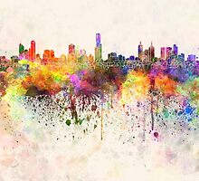 Melbourne skyline in watercolor background by paulrommer