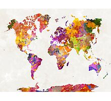 World map in watercolor  Photographic Print