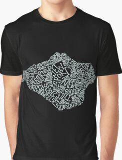 Isle of Wight area text map in Duck Egg Blue Graphic T-Shirt