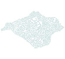 Isle of Wight area text map in Duck Egg Blue Photographic Print