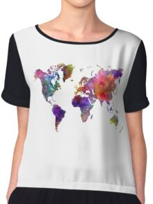 World map in watercolor  Chiffon Top