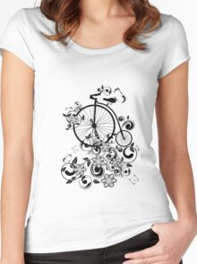 Bicycle and Floral Ornament 3 Women's Fitted Scoop T-Shirt